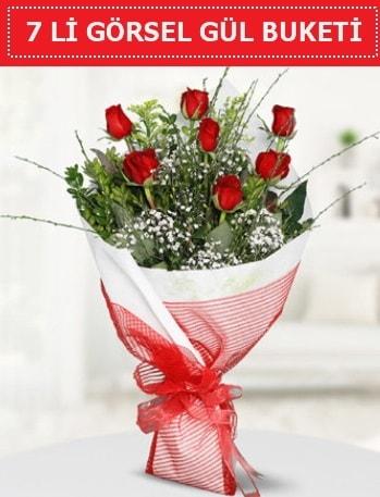 7 adet kırmızı gül buketi Aşk budur  Sinop internetten çiçek satışı