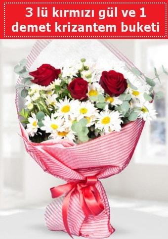 3 adet kırmızı gül ve krizantem buketi  Sinop ucuz çiçek gönder