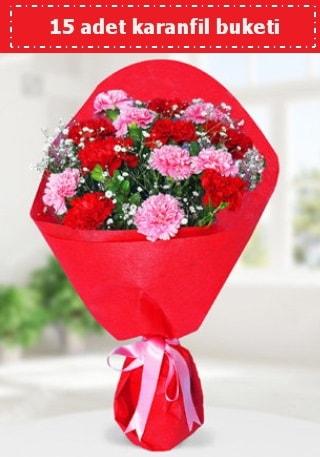15 adet karanfilden hazırlanmış buket  Sinop çiçek servisi , çiçekçi adresleri